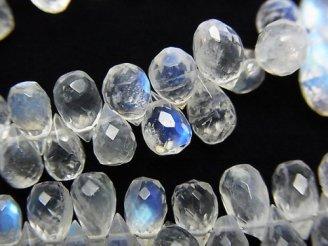 天然石卸 宝石質レインボームーンストーンAAA+〜AAA ドロップ ブリオレットカット 半連/1連(約18cm)