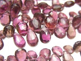 天然石卸 宝石質ピンクトルマリンAAA ペアシェイプ ブリオレットカット 半連/1連(約17cm)