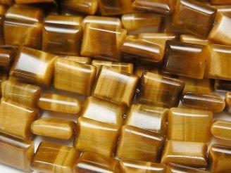 天然石卸 イエロータイガーアイAAA レクタングル9×7×3mm 半連/1連(約38cm)