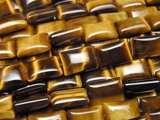 天然石卸 イエロータイガーアイAAA' レクタングル12×8×4mm 半連/1連(約36cm)