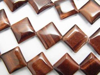天然石卸 レッドタイガーアイAAA- ダイヤ14×14×4mm 半連/1連(約37cm)
