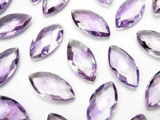 天然石卸 宝石質ピンクアメジストAAA 穴なしマーキスクッションカット16×8mm 3粒980円!