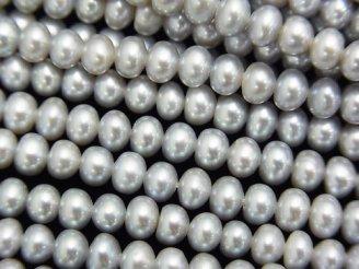 天然石卸 1連1,180円!淡水真珠AA++ シルバー ロンデル4×4×3mm 1連(約38cm)