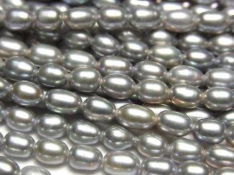 天然石卸 1連680円!淡水真珠AA++ ライス5×4×4 シルバー 1連(約38cm)