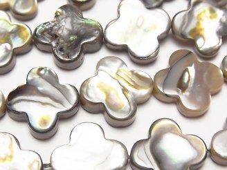天然石卸 アバロンシェル(鮑) フラワーモチーフ15×15×3mm 1/4連〜1連(約38cm)