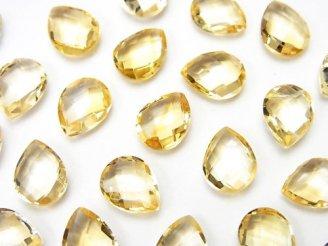 天然石卸 宝石質シトリンAAA 穴なしペアシェイプクッションカット9×7mm 5粒680円!