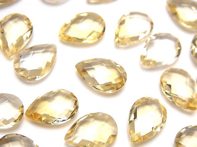 宝石質シトリンAAA 穴なしペアシェイプクッションカット13×9mm 3粒