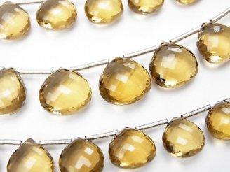 天然石卸 極上カット!宝石質ビアクォーツAAA マロン ブリオレットカット 半連/1連(約20cm)