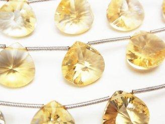 天然石卸 1連2,980円〜!宝石質シトリンAAA- マロン コンケーブカット 1連(約17cm)
