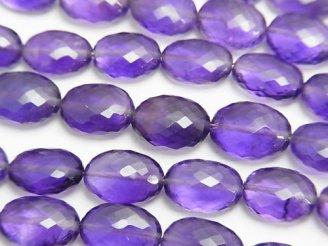 天然石卸 極上カット!宝石質アメジストAAA+ オーバルカット 半連/1連(約20cm)