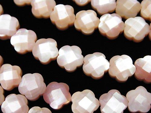 高品質ピンクシェル フラワー(カット入り)8×8×4mm 1/4連〜1連(約38cm)