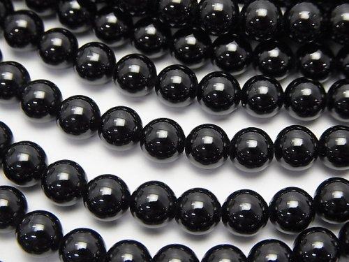 【値下成功】ブラックスピネルAAA ラウンド6.5mm 半連/1連(約38cm)