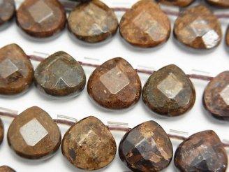 天然石卸 ブロンザイト マロン ブリオレットカット10×10×5mm 半連/1連(約38cm)
