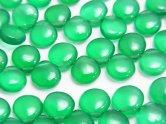 天然石卸 宝石質グリーンオニキスAAA マロン(プレーン) 半連/1連(約18cm)