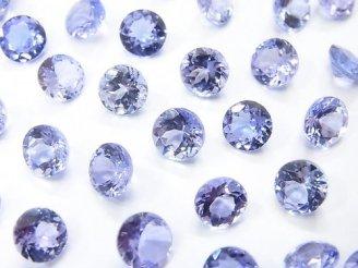天然石卸 宝石質タンザナイトAAA 穴なしラウンドファセットカット6×6×4mm 1粒2,480円!