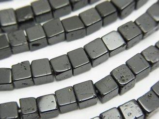 天然石卸 1連780円!ブラックトルマリンAA キューブ4×4×4mm 1連(約37cm)