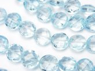 天然石卸 宝石質スカイブルートパーズAAA コインカット 1/4連〜1連(約22cm)