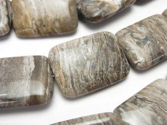 天然石卸 シルバーリーフジャスパー 大粒レクタングル30×22×7mm 半連/1連(約36cm)