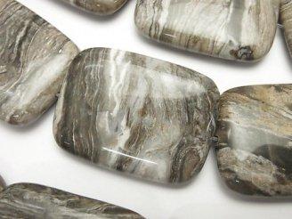 天然石卸 シルバーリーフジャスパー 大粒レクタングル40×30×10mm 半連/1連(約36cm)