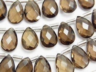 天然石卸 宝石質スモーキークォーツAAA ペアシェイプ ブリオレットカット12×8mm 半連/1連(15粒)