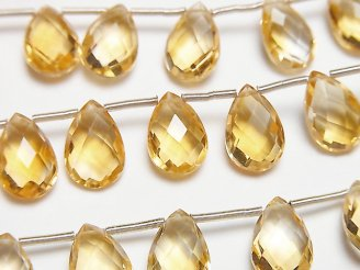 天然石卸 宝石質シトリンAAA ペアシェイプ ブリオレットカット12×8mm 半連/1連(15粒)