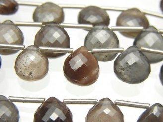 天然石卸 極上カット!宝石質スキャポライト キャッツアイAAA マロン ブリオレットカット 1連(約9cm)