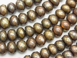 天然石卸 1連1,280円!カット入り淡水真珠 ロンデル7×7×5 ブラウン 1連(約36cm)