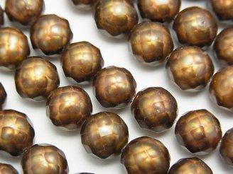 天然石卸 1連2,980円!カット入り淡水真珠 ラウンド9mm(〜8mm) ブラウン 【1mm穴】 1連(約35cm)