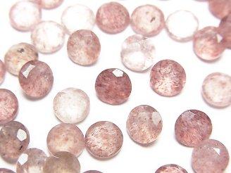 天然石卸 宝石質ピンクエピドートAAA 穴なしラウンドファセットカット6×6×4mm 10粒580円!