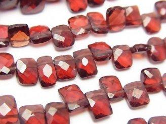 天然石卸 宝石質モザンビークガーネットAAA-〜AA++ レクタングルカット 半連/1連(約18cm)
