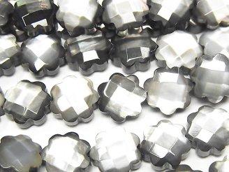 天然石卸 高品質ブラックシェル フラワー(カット入り)10×10×4mm 半連/1連(約38cm)