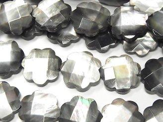 天然石卸 高品質ブラックシェル フラワー(カット入り)15×15×4mm 半連/1連(約38cm)