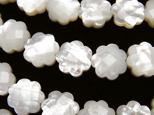 高品質ホワイトシェル フラワー(カット入り)12×12×4mm 半連/1連(約38cm)