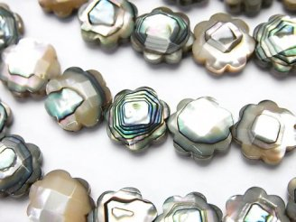 天然石卸 アバロンシェル(鮑) フラワー(カット入り)10×10×3mm 1/4連〜1連(約38cm)