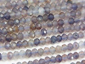 天然石卸 素晴らしい輝き!ブラッドショットアイオライトAA ボタンカット4×4×3mm 半連/1連(約38cm)
