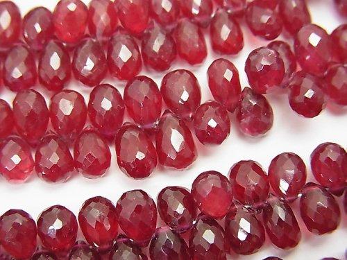 宝石質ルビーAAA ドロップ ブリオレットカット 1/4連〜1連(約18cm)