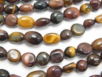 天然石卸 1連580円!タイガーアイAA++ 3色ミックス タンブル 1連(約38cm)