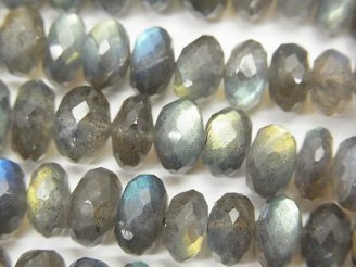 天然石卸 宝石質ラブラドライトAAA ボタンカット サイズグラデーション 半連/1連(約42cm)
