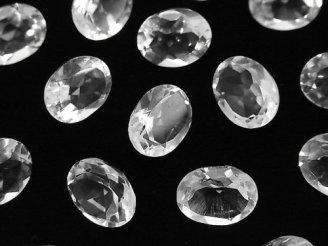 天然石卸 宝石質クリスタルAAA 穴なしオーバルファセットカット10×8mm 6粒980円!