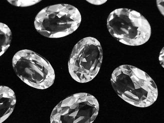 天然石卸 宝石質クリスタルAAA 穴なしオーバルファセットカット14×10mm 5粒1,480円!