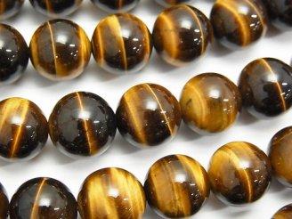 天然石卸 イエロータイガーアイAAA- ラウンド12mm 半連/1連(約37cm)