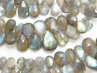天然石卸 宝石質ラブラドライトAAA- ペアシェイプ ブリオレットカット サイズグラデーション 半連/1連(約18cm)