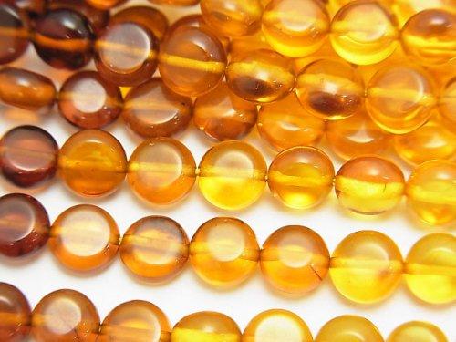 バルティックアンバー(琥珀) コイン6×6×3mm カラーグラデーション 半連/1連(約42cm)