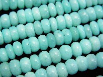 天然石卸 ペルー産アマゾナイトAA++ ロンデル(ボタン)6×6×3mm 半連/1連(約38cm)