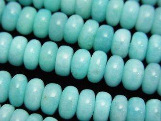 天然石卸 ペルー産アマゾナイトAA++ ロンデル(ボタン)8×8×4mm 半連/1連(約38cm)