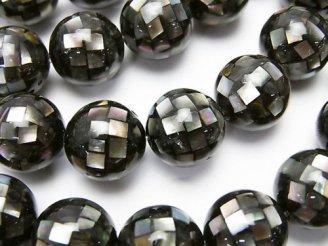 天然石卸 モザイクシェル ブラック ラウンド12mm 1/4連〜1連(約35cm)