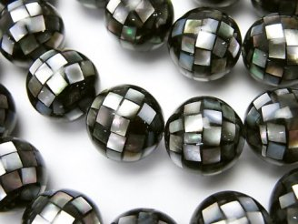 天然石卸 モザイクシェル ブラック ラウンド14mm 1/4連〜1連(約34cm)