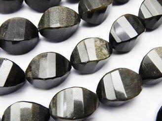天然石卸 ゴールデンシャインオブシディアン 4面ツイストライス×多面カット17×10×10mm 半連/1連