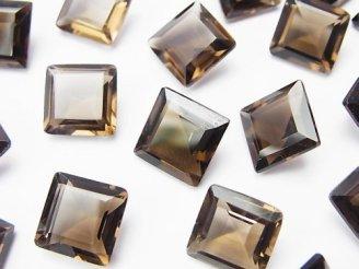 天然石卸 5粒1,380円!宝石質スモーキークォーツAAA 穴なしスクエアファセットカット10×10mm 5粒