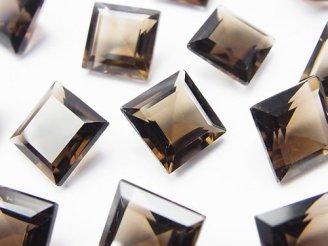 天然石卸 3粒1,280円!宝石質スモーキークォーツAAA 穴なしスクエアファセットカット12×12mm 3粒